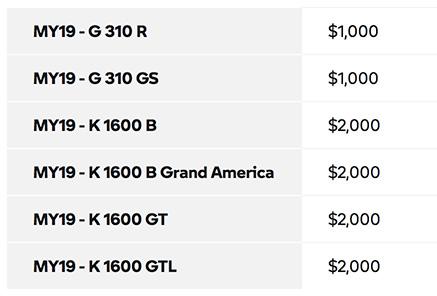 September offers for $2000 off select 2019 models